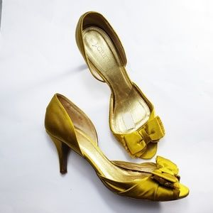 J.crew satin mustard open toe heels size 10